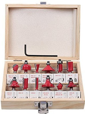 INDO 6.35mm 12 PCS MULTI SHAPES ROUTER/TRIMMER BIT SET COMBO WITH WOODEN BOX 1/4 (6.35MM SHANK) SPECIALLY DESIGNED FOR WOODWORKING Rotary Tool(6.35 mm)