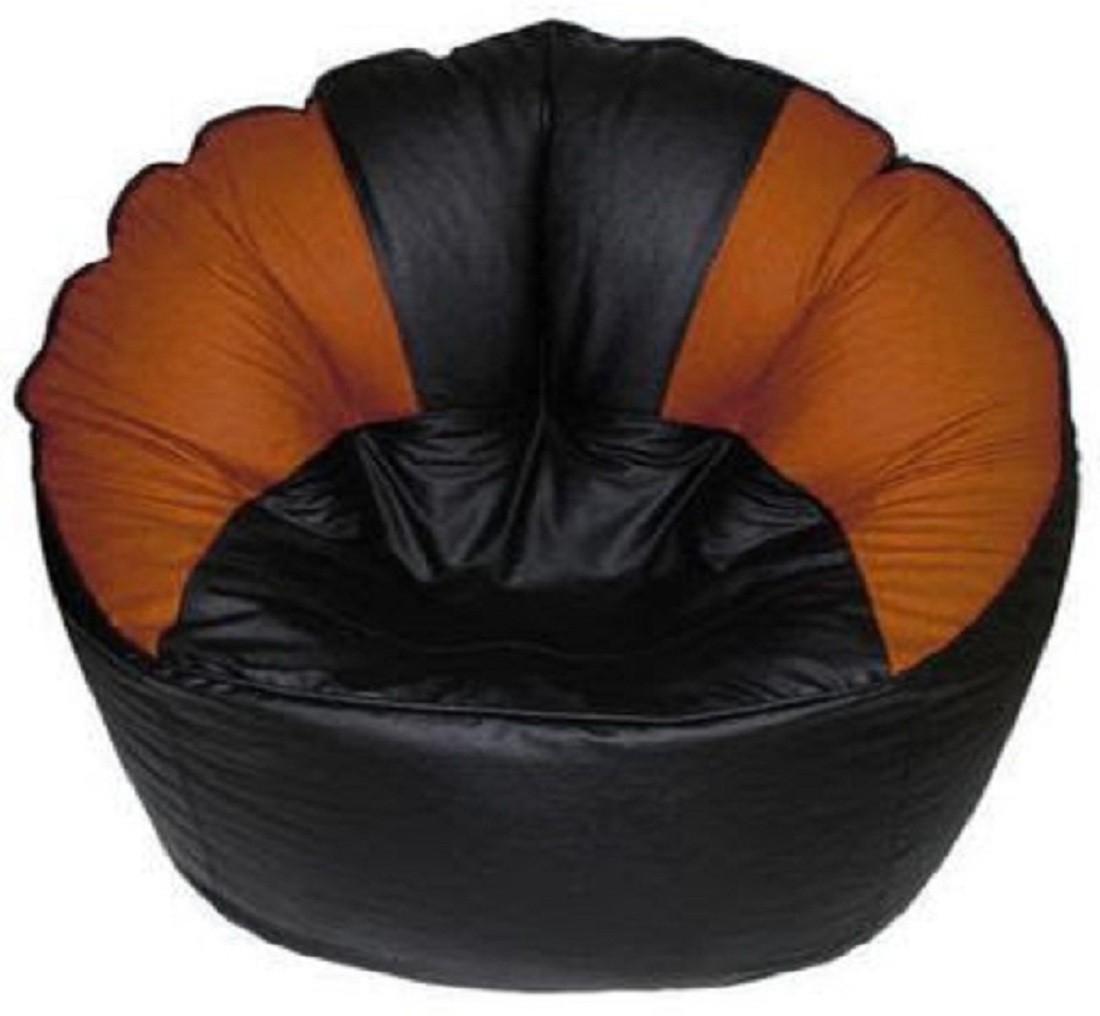 View Sultaan XXL Bean Bag Cover(Black, Orange) Furniture (Sultaan)
