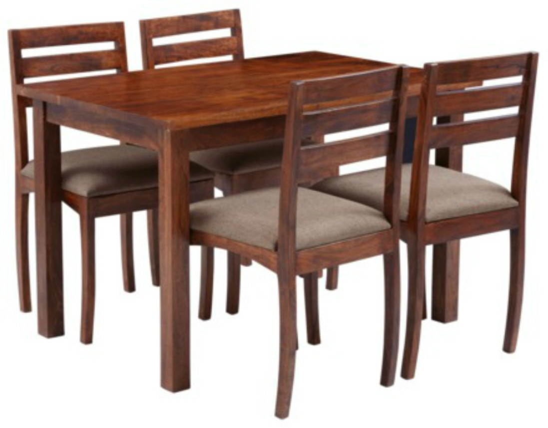 View Home Edge Solid Wood 4 Seater Dining Set(Finish Color - Teak) Furniture (Home Edge)