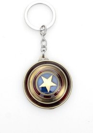 24x7 Rotating Premium The Avengers Captain America Shield Metal Keychain Matt Gold with Realistic Detailing Key Chain