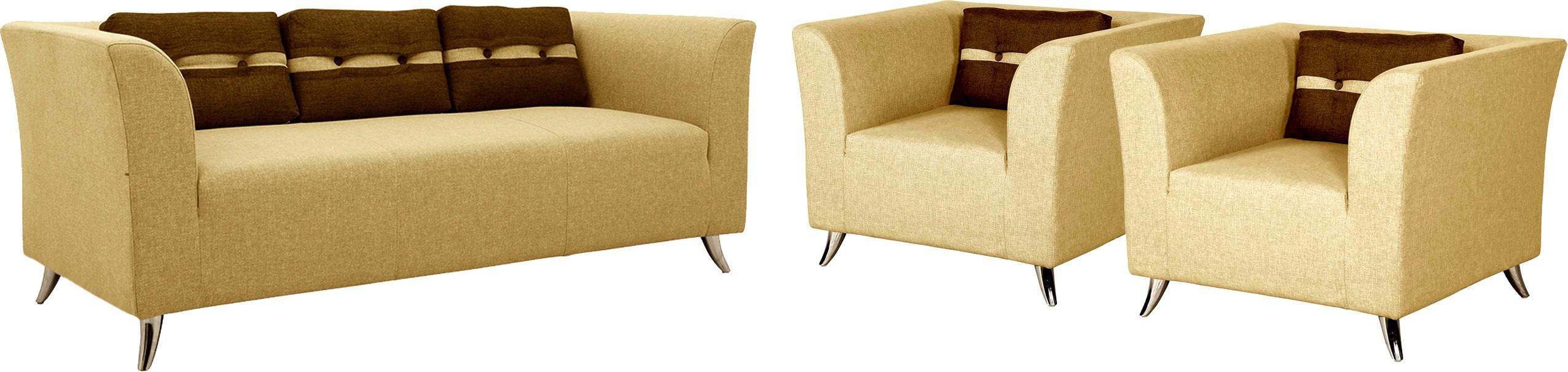 View Amey Fabric 3 + 1 + 1 Matt Sofa Set Furniture (Amey)