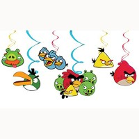 PARTY PROPZ Multicolor ANGRY BIRD BIRTHDAY DECORATION/ SWIRLS HANGING SET OF 6/ ANGRY BIRD PARTY SUPPLIES - 6 g