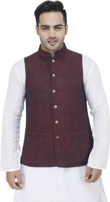 Drap Sleeveless Woven Men's Nehru Jacket