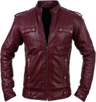 Glam Kills Full Sleeve Solid Mens 100 % Real Leather Jacket
