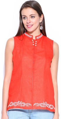 Anouk Sleeveless Solid Women,s Quilted Linen Jacket