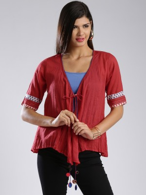 Anouk Half Sleeve Self Design Women's Jacket