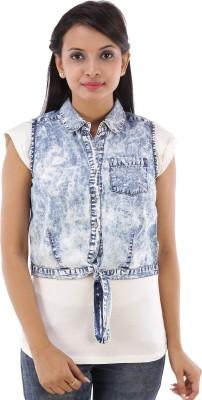 House of Tantrums Sleeveless Embroidered Women's Denim Denim Jacket