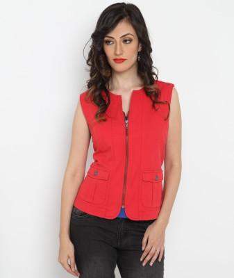 Bedazzle Sleeveless Solid Women's Jacket
