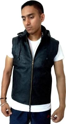 Loveleather Sleeveless Solid Men's Faux Leather Jacket