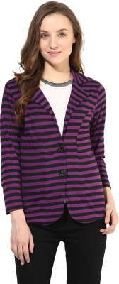 Color Cocktail 3/4 Sleeve Striped Women's Jacket