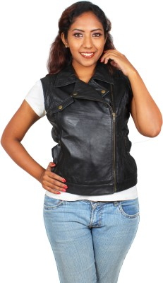 Marson Leather Sleeveless Solid Women's Jacket