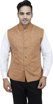 Sobre Estilo Sleeveless Solid Men's Nehru Linen Jacket