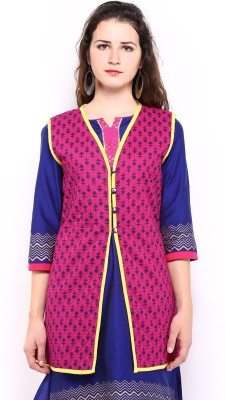 Anouk Rustic Sleeveless Printed Women,s Quilted Jacket