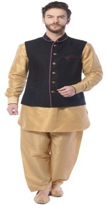 Mohanlal Sons 3/4 Sleeve Self Design Men's Linen Jacket