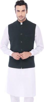 Jadeblue Sleeveless Checkered Men's Jacket