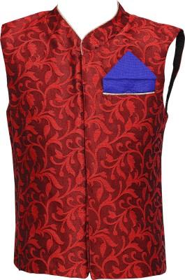 K&U Sleeveless Self Design Boy's Jacket