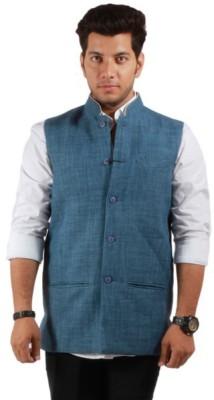 Bleu Sleeveless Self Design Men's Linen Jacket