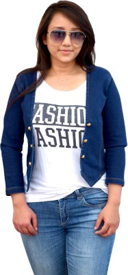 Aarti Collections 3/4 Sleeve Self Design Women,s Denim Jacket