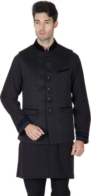 Roar and Growl Sleeveless Solid Men's Woolen Jacket