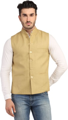 Phedarus Sleeveless Self Design Men,s Linen Jacket