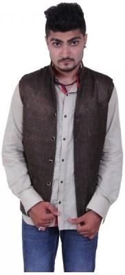 Austrich Sleeveless Solid Mens Linen Jacket