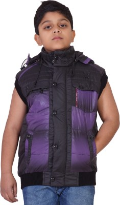 Little Bugs Sleeveless Self Design Boy's Quilted Jacket