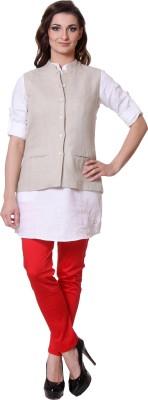 Yell Sleeveless Solid Women's Woven Linen Jacket