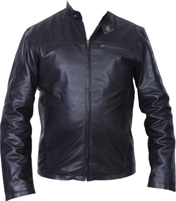 Wood N Leather In Design Full Sleeve Solid Mens Leather Jacket