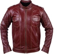 Glam Kills Full Sleeve Solid Mens Leather Jacket Jacket