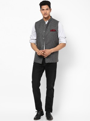 Even Sleeveless Checkered Men's Jacket