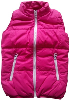 Mine Sparrow Sleeveless Solid Girl's Jacket