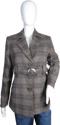 Modo Vivendi Full Sleeve Checkered Womens Jacket