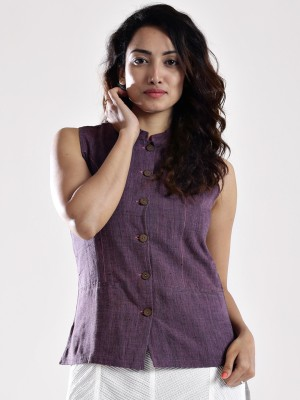 Fabindia Sleeveless Solid Women's Jacket