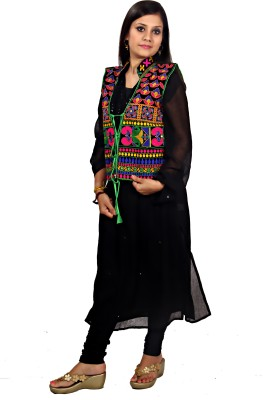 Mrignayaneei Sleeveless Floral Print Women's Jacket