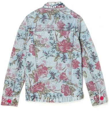 London Fog Full Sleeve Floral Print Girl's Denim Jacket
