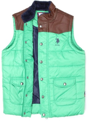 U S Polo Kids Sleeveless Solid Boys Jacket
