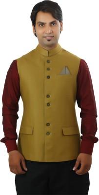 Ethnic Monarch Sleeveless Solid Men's Linen Jacket