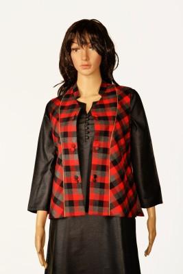 Kinari Sleeveless Checkered Women's Plain Jacket