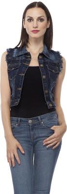 Clo Clu Sleeveless Self Design Women's Denim Jacket