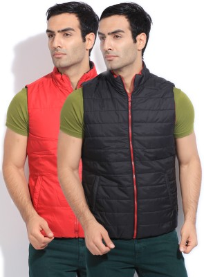 Flying Machine Sleeveless Solid Mens Quilted Jacket