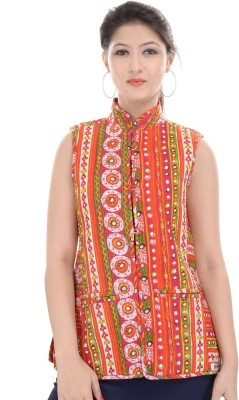 JaipurKurti Sleeveless Printed, Solid Women's Jacket