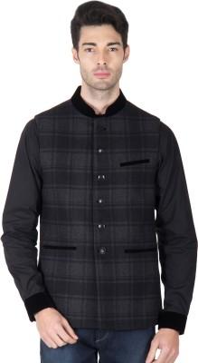 Roar and Growl Sleeveless Checkered Men's Woolen Jacket