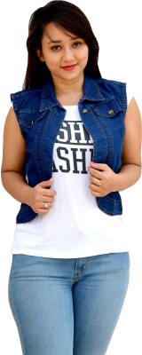 Aarti Collections Sleeveless Self Design Women's Denim Jacket