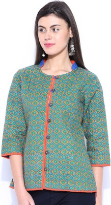 Anouk Rustic 3/4 Sleeve Printed Women,s Quilted Jacket