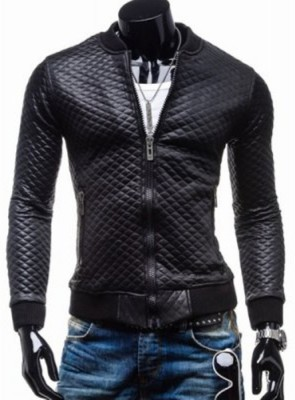 Shimmer Trends Full Sleeve Self Design Men's Leather Jacket
