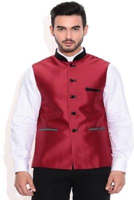 Vivyaan Sleeveless Solid Men's Plain Silk Blend Jacket