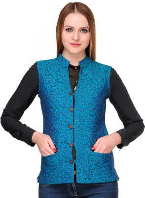 Fuchsia Designs Sleeveless Printed Womens Quilted Jacket