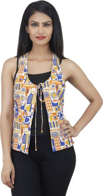 Drap Sleeveless Printed Women's Woven Jacket