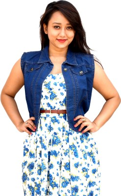 Aarti Collections Sleeveless Self Design Women,s Denim Jacket