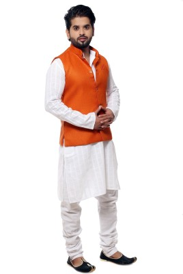 Ethiic Sleeveless Self Design Men's Jacket